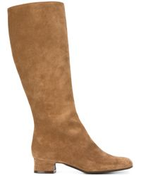 P.A.R.O.S.H. - Brown Low Chunky Heel Mid-calf Boots - Lyst