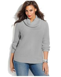 Michael Kors | Gray Michael Plus Size Cowl-Neck Waffle-Knit Sweater | Lyst