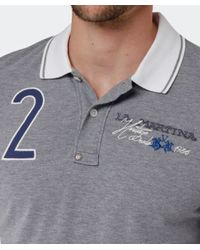 La Martina | Gray Contrast Collar Logo Polo Shirt for Men | Lyst