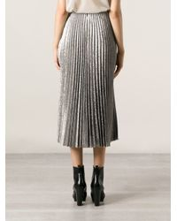 Cedric Charlier - Metallic Pleated Skirt - Lyst