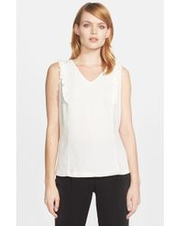 kate spade new york - White Ruffle Front Sleeveless Top - Lyst