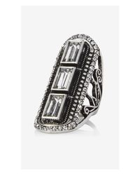 Express | Metallic Triple Rhinestone Baguette Oblong Ring | Lyst