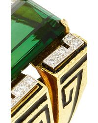 David Webb | Green Tourmaline Scroll Ring | Lyst
