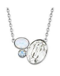 Swarovski | White Rhodiumplated Clear Crystal Cluster Pendant Necklace | Lyst