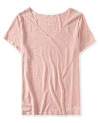 Aéropostale | Pink Oversized Slub-knit V-neck Tee | Lyst