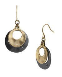 Kenneth Cole | Metallic Two-tone Sculptural Double Drop Earrings | Lyst