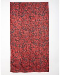 French Connection | Red Peony Print Scarf | Lyst