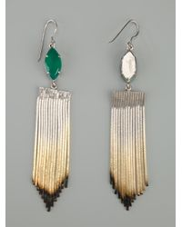 Iosselliani - Green Shaded Fringe Earrings - Lyst