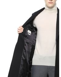Façonnable - Blue Wool Coat With Contrasting Collar - Lyst