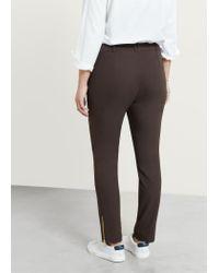 Violeta by Mango - Brown Zip Cotton Trousers - Lyst