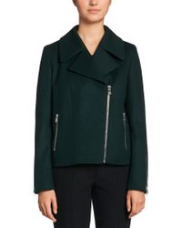 HUGO - Green 'fasilvi' | Virgin Wool Cashmere Blend Moto Jacket - Lyst
