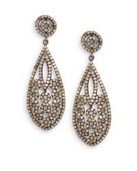 Bavna | Metallic 4.94 Tcw Champagne Diamond & Sterling Silver Cutout Teardrop Earrings | Lyst