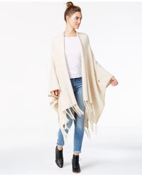 Kensie | Natural Fringe-detail Sweater Poncho | Lyst