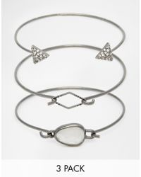 Pieces | Metallic Three Bracelet Set | Lyst
