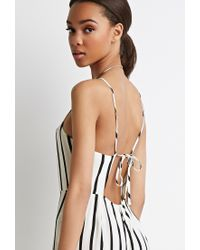 Forever 21 - Natural Strappy-back Striped Jumpsuit - Lyst