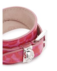Alexander McQueen | Pink Skull Loop Double Wrap Leopard Print Leather Bracelet | Lyst