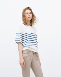 Zara | Natural Powerstretch Biker Jeans | Lyst