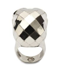 Alexander McQueen   Metallic Textured Skull Ring   Lyst