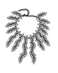 Kenneth Jay Lane   Metallic Crystal Leaf Drop Necklace   Lyst