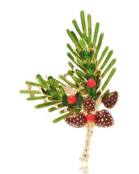 R.j. Graziano | Green Holiday Pinecone Brooch | Lyst