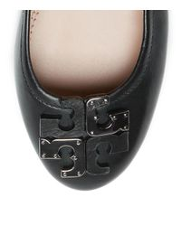 Tory Burch | Black Chase Tweed Bow Ballerina Flat | Lyst