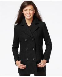 INC International Concepts | Black Double-breasted Peacoat | Lyst