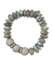 Sheryl Lowe | Metallic 14mm Labradorite & Pave Diamond Beaded Bracelet | Lyst