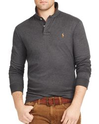 Ralph Lauren - Gray Polo Long-sleeved Pima Soft-touch Polo Shirt for Men - Lyst