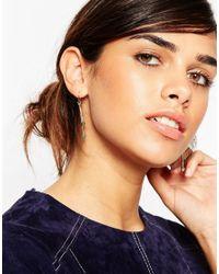ASOS - Metallic Semi Precious Through Earrings - Lyst
