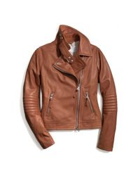 COACH - Brown Slim Leather Moto Jacket - Lyst