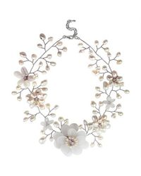 Aeravida - Metallic Sweet Clear Quartz With Pearl Embellishments Floral Necklace - Lyst