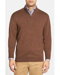 Peter Millar - Brown Leather Trim Quarter Zip Pullover Sweater for Men - Lyst