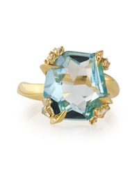 Alexis Bittar Fine - Metallic Sandy Beach 18k Gold Blue Topaz Ring with Diamonds - Lyst