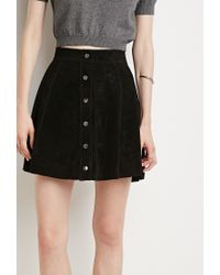 Forever 21 | Black Contemporary Buttoned Suede Skirt | Lyst