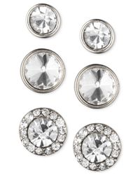 Nine West | Metallic Silver-tone Crystal Stud Earring Set | Lyst