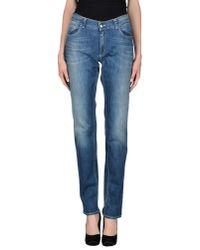Les Copains - Blue Denim Trousers - Lyst