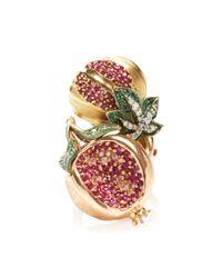 Royal Asscher - Red 18k Rose Gold Pomegranate Ring - Lyst