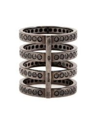 Repossi | Black Diamond Four Row Ring | Lyst