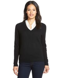 Nordstrom Collection | Black Double V-neck Cashmere Sweater | Lyst