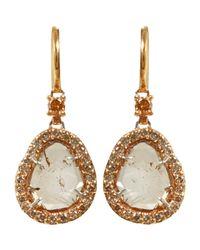 Sharon Khazzam - Pink Women's Brown Diamond Slice Earrings - Lyst