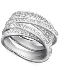 Swarovski | Metallic Silver-tone Pavé Crystal Crisscross Ring | Lyst