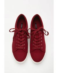 Forever 21 - Red Canvas Flatform Sneakers - Lyst