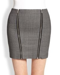 The Kooples - Gray Prince De Galles Leathertrimmed Plaid Stretch Wool Skirt - Lyst