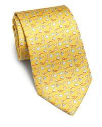Ferragamo - Yellow Buoy-print Silk Tie for Men - Lyst