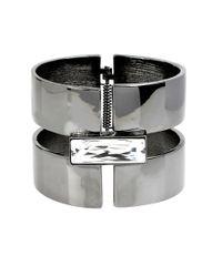 Diane von Furstenberg | Gray Swarovski Stone Hinge Cuff Bracelet | Lyst