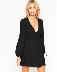 ASOS - Mini Wrap Dress With Blouson Sleeves - Black - Lyst