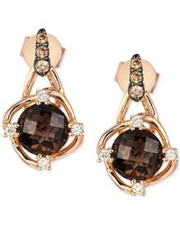 Le Vian | Metallic Petite Collection Smokey Quartz (1-1/2 Ct. T.w.) And Diamond (1/6 Ct. T.w.) Oval Earrings In 14k Rose Gold | Lyst