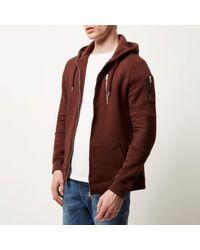 River Island - Dark Red Zip Pocket Long Sleeve Hoodie for Men - Lyst