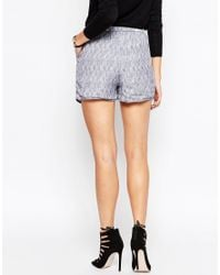 Just Female | Blue Grape Short With White Brush Print | Lyst