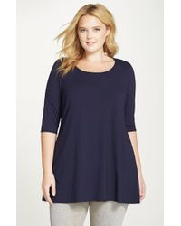 Eileen Fisher - Blue Scoop Neck Jersey Tunic - Lyst